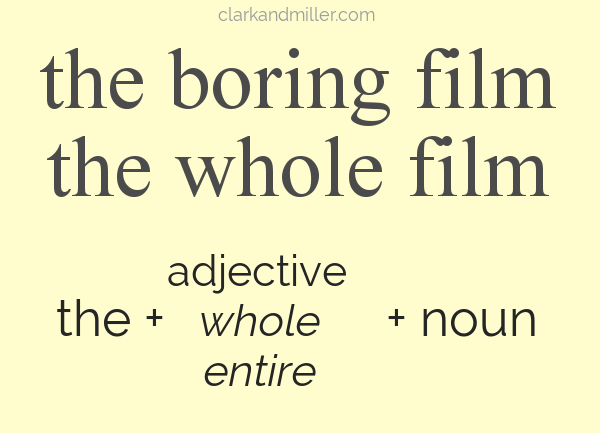 Text: the boring film, the whole film, the + adjective (whole, entire) + noun