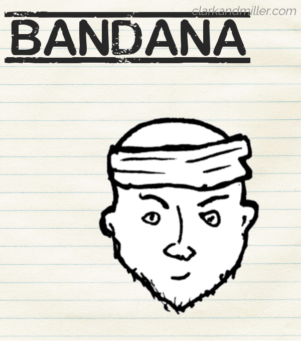 "Sketch of a bandana on lined paper with the word ""bandana"" in capital letters"