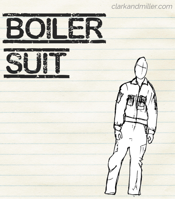 "Sketch of a boiler suit on lined paper with the word ""boiler suit"" in capital letters"