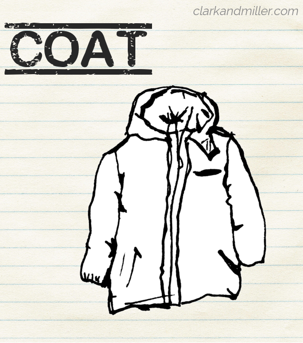 "Sketch of a coat on lined paper with the word ""coat"" in capital letters"