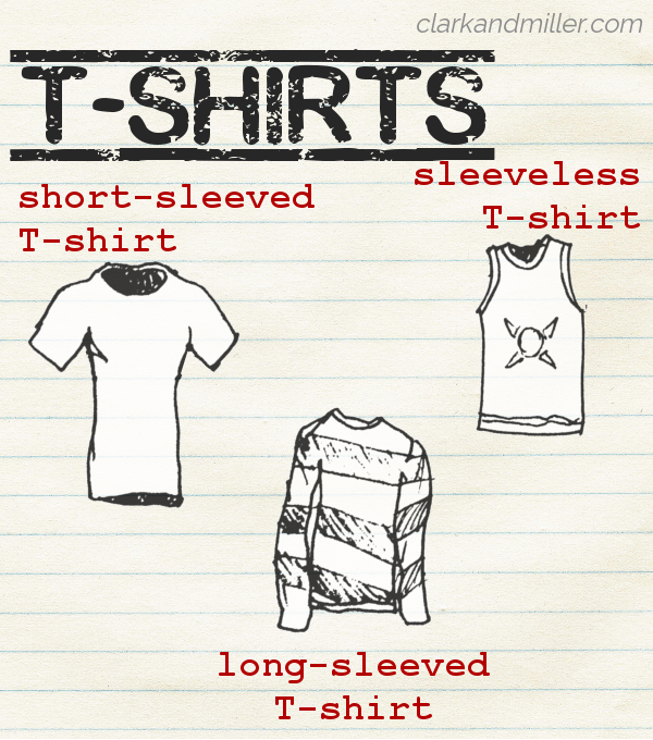 "Sketches of different types of T-shirts (labelled short-sleeved, sleeveless and long-sleeved) on lined paper with the word ""T-shirts"" in capital letters"