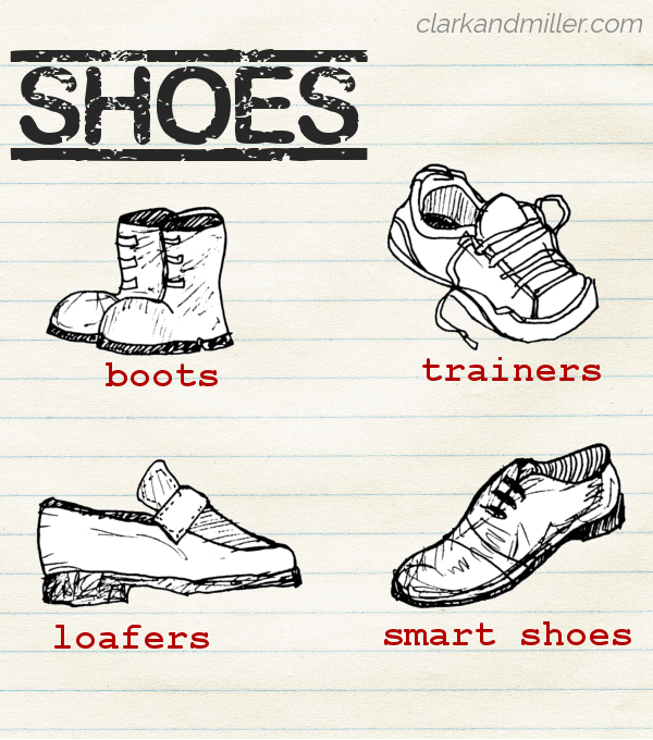 "Sketches of different types of shoes (labelled boots, trainers, loafers and smart shoes) on lined paper with the word ""shoes"" in capital letters"