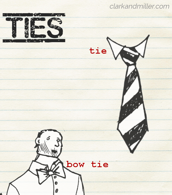 "Sketches of different types of ties (labelled tie and bow tie) on lined paper with the word ""ties"" in capital letters"