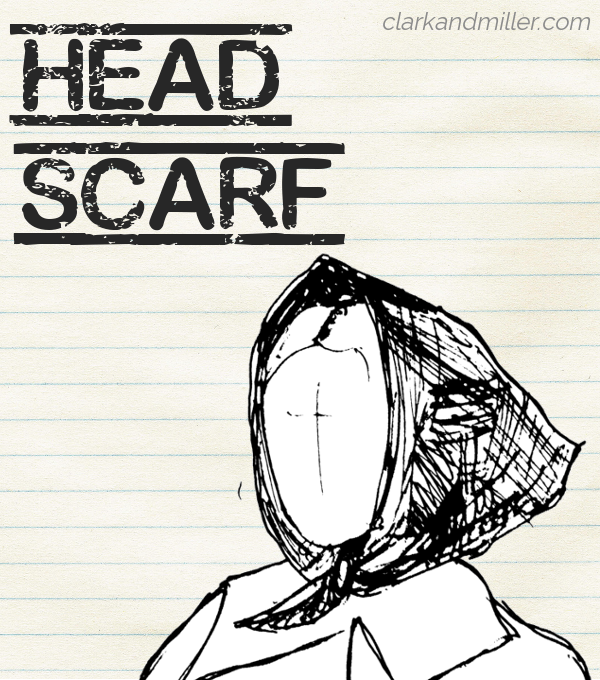 "Sketch of a headscarf on lined paper with the word ""headscarf"" in capital letters"