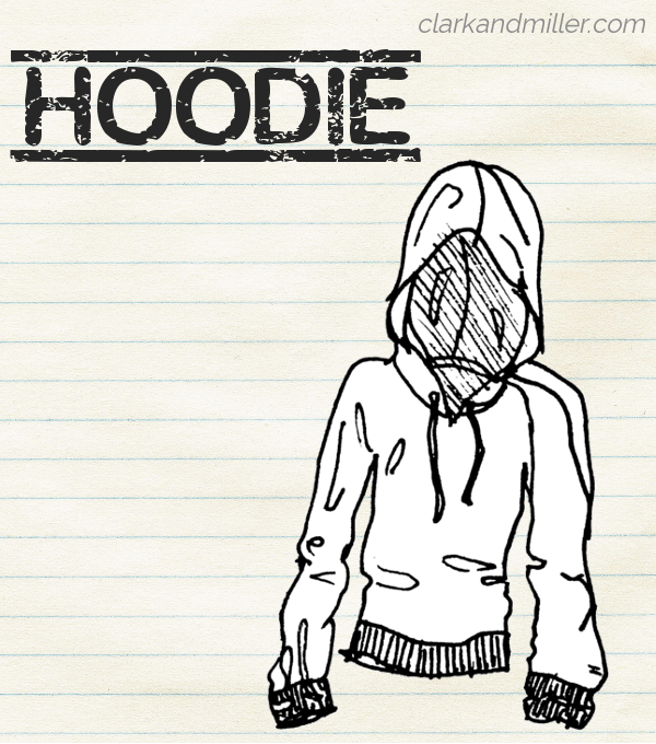 "Sketch of a hoodie on lined paper with the word ""hoodie"" in capital letters"