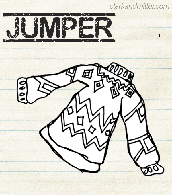 "Sketch of a jumper with a geometric design on lined paper with the word ""jumper"" in capital letters"