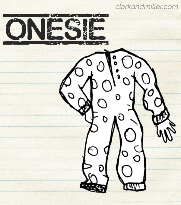 "Sketch of a polka-dot onesie on lined paper with the word ""onesie"" in capital letters"
