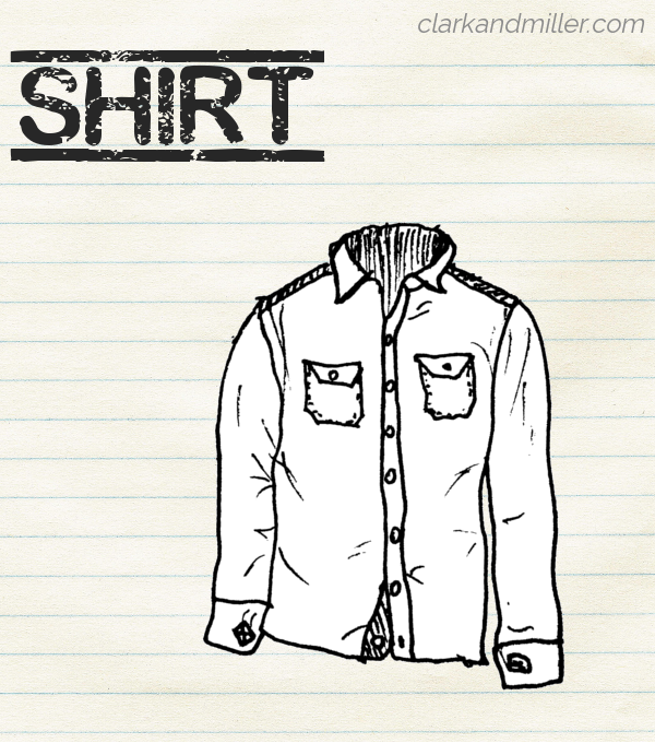 "Sketch of a shirt on lined paper with the word ""shirt"" in capital letters"