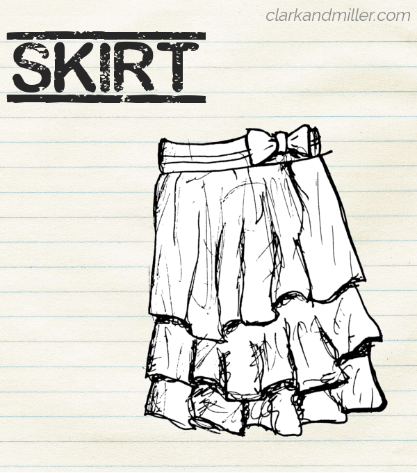 "Sketch of a flounced skirt with a bow at the waist on lined paper with the word ""skirt"" in capital letters"
