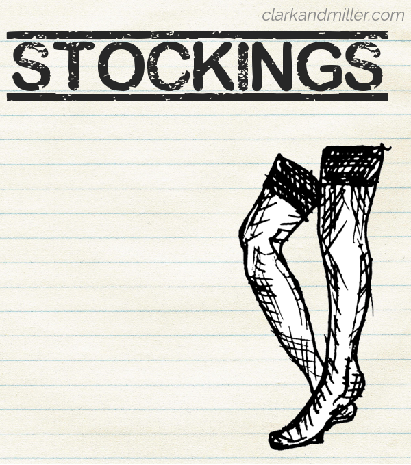 "Sketch of a pair of stockings on lined paper with the word ""stockings"" in capital letters."