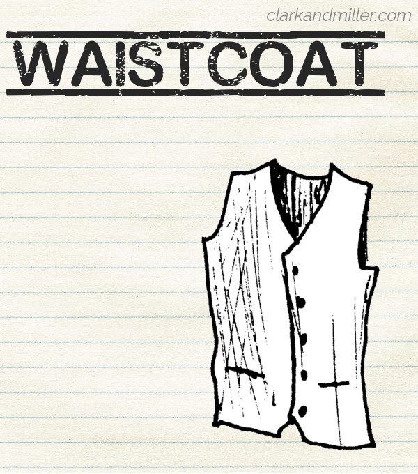 "Sketch of a waistcoat on lined paper with the word ""waistcoat"" in capital letters."