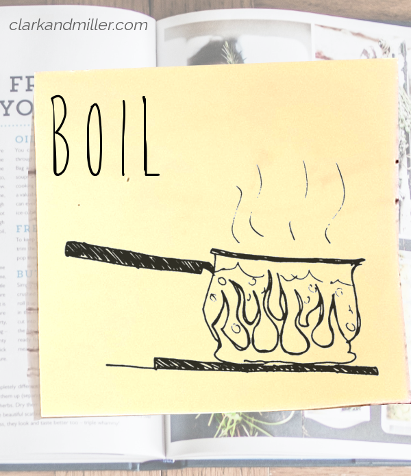 boil: sketch of a saucepan containing water over a flame