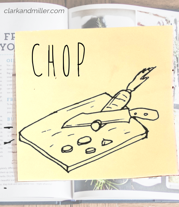 chop: sketch of a carrot being cut with a knife