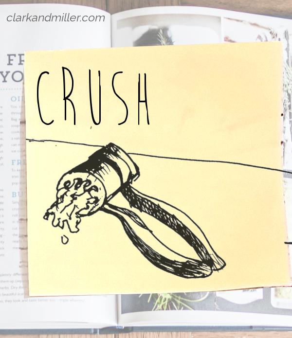 crush: sketch of garlic coming out of a garlic crusher