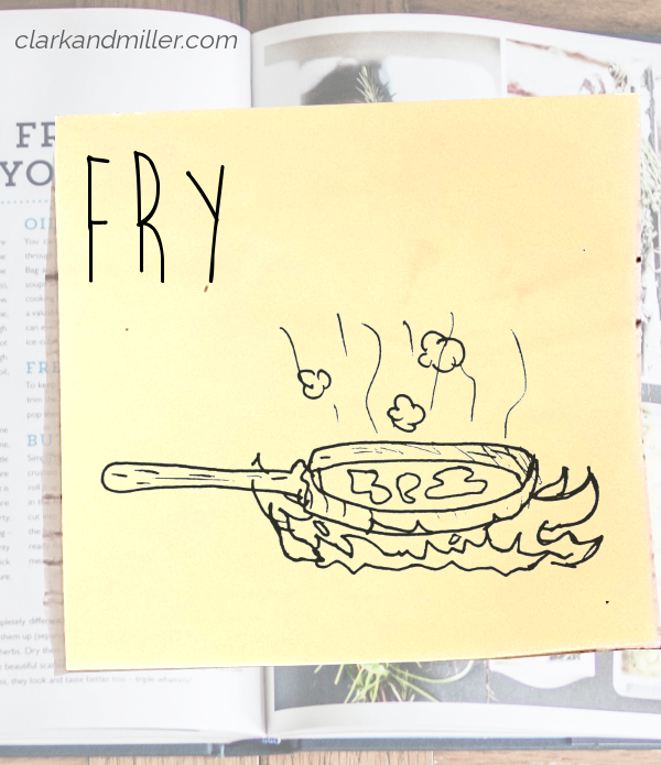 fry: sketch of a frying pan over flames