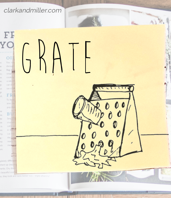 grate: sketch of a grater and a half-grated carrot