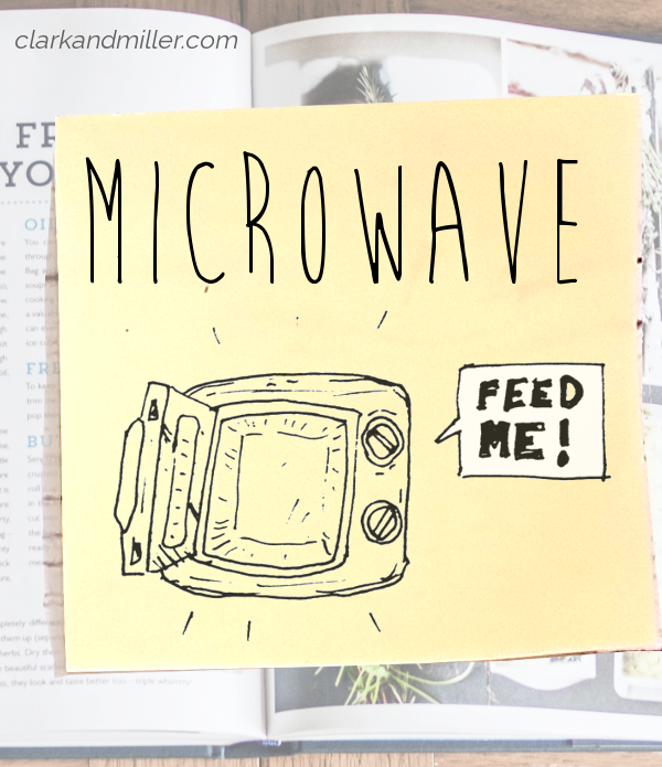"""microwave: sketch of an open microwave with a dialogue bubble """"feed me!"""""""