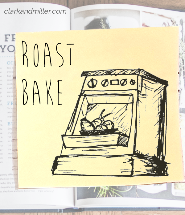 roast or bake: sketch of an open oven with a tray of vegetables inside