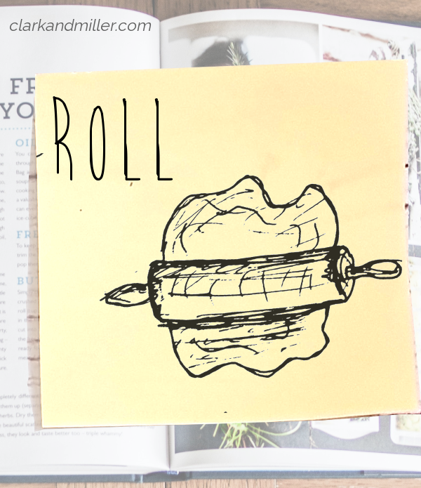 roll: sketch of a rolling pin on a piece of dough