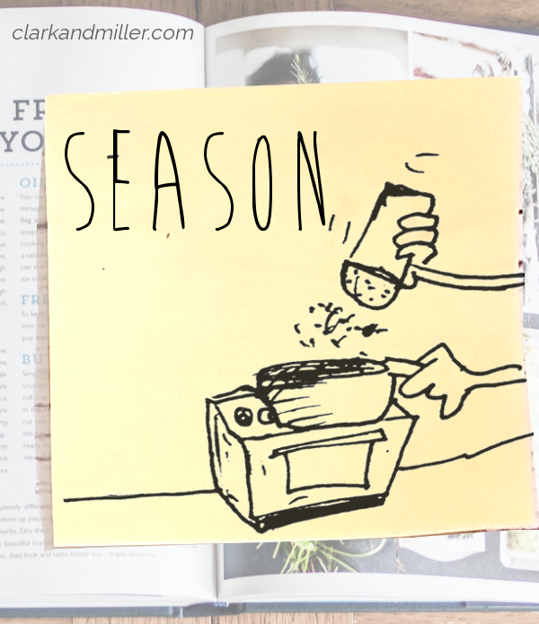 season: sketch of a hand sprinkling salt into a pan