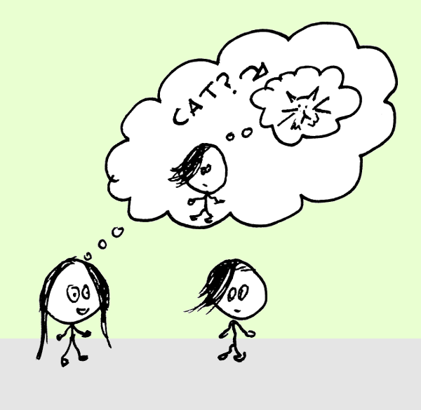 """Two stick figures, one with a thought bubble. In the thought bubble, there is the second stick figure with a thought bubble containing a cat and the word """"cat"""" with a question mark."""
