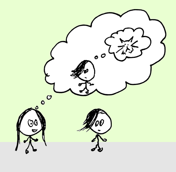 Two stick figures, one with a thought bubble. In the thought bubble, there is the second stick figure with a thought bubble containing a cat.
