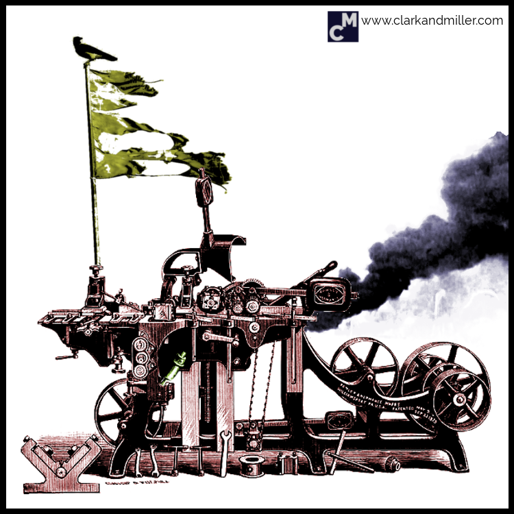 Archaic machine with black smoke coming out the bakc and a tattered flag on top with a bird perched on it