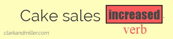 Cake sales increased (verb).