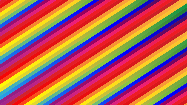 Narrow diaglonal stripes in pink, purple, blue, green and yellow